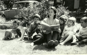 Jo reads to us on the front lawn